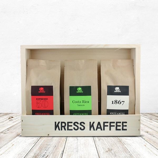 Probier-Set Kaffeebohnen Kaffe Kress 3 x 250 Gamm